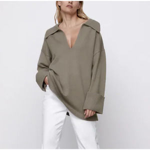 Zara Polo Collar V-neck Knit Sweater Gray Taupe M